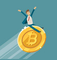 bitcoin crypto currency growth chart business vector image vector image