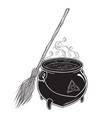 boiling magic cauldron with broom vector image