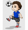 boy playing football on transparent background vector image vector image