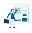 businessman with graph statistic avatar character vector image vector image