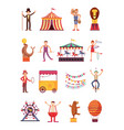 carnival and circus cartoon fun characters fair vector image