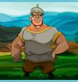 cartoon man hero in a helmet stands in the steppe vector image vector image
