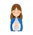 cartoon virgin mary pray spiritual christmas vector image vector image