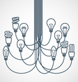Chandelier made of light bulbs hanging on cords vector image vector image