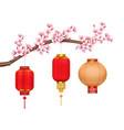 chinese lanterns on sakura realistic composition vector image