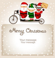christmas card santa claus elf and christmas vector image