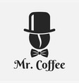 coffee bean with hat logo mister coffee on white vector image vector image