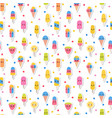 colorful summer seamless pattern with kawaii ice vector image vector image