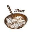 Cooking Frying pan with meat Sketch vector image