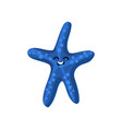 cute happy cartoon blue starfish character vector image