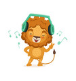 cute young lion cartoon character standing with vector image vector image