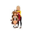 female hairdresser making hairstyle using curling vector image vector image