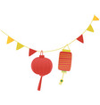 festive paper lanterns on a string vector image