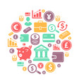finance and bank icons on circle background vector image vector image