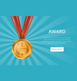 first place shiny golden medal with red ribbon vector image vector image