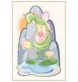 Floral green dragon with a gift and delicate vector image vector image