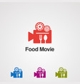 food movie with stan spoon and fork logo vector image vector image