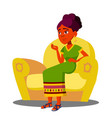 girl is sitting on sofa with strong abdominal vector image