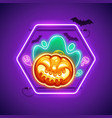 halloween neon sign with creepy pumpkin vector image vector image