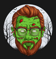 handsome zombie face over full moon vector image
