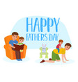 happy father s day flat set father giving vector image