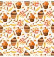 happy halloween sweet seamless pattern trick vector image vector image
