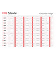horizontal 2019 calendar designsunday weekend vector image vector image