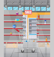 interior supermarket with empty shelves vector image