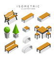 isometric wooden bench collection vector image