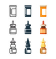 medicine bottles and box for pills line vector image vector image