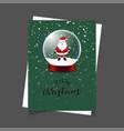 merry christmas santa green background vector image