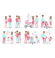 pink blue set characters family creation vector image vector image