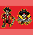 pirate skull mascot in set vector image vector image
