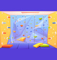 rock climbing wall with grips mats and ropes vector image vector image