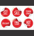 Round sale stickers on white background