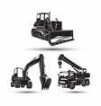set heavy building machines vector image
