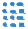 set of blank blue shaded bubbles of various shapes vector image vector image