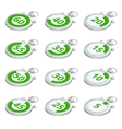 Set of green timers 3d isometric vector image vector image