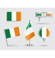 Set of Irish pin icon and map pointer flags vector image
