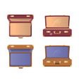 set open suitcases with britain flag icons vector image