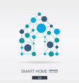 smart home integrated thin lines and circles vector image vector image