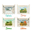 summer and winter spring and autumn village view vector image vector image