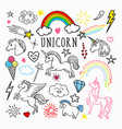 unicorn rainbow magic freehand doodle stickers vector image vector image