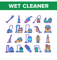 wet vacuum cleaner collection icons set vector image vector image