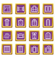window design icons set purple square vector image vector image