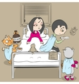 Woman patient on bed and doctor Cat medic gives vector image