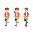 young man riding bicycle set vector image