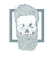 bearded hipster skull with stylish hairstyle vector image