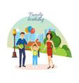 family celebrates birthday city landscape park vector image