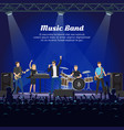 music band on stage and many spectators underneath vector image